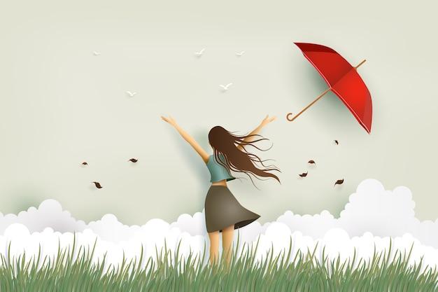 Ilustración del día de la mujer, muchacha hermosa divertida y paraguas rojo en el campo.