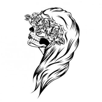 Ilustración del día de las mujeres muertas con bello arte facial