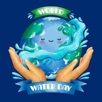 Ilustración del día mundial del agua en acuarela con manos y planeta