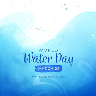 Ilustración del día mundial del agua en acuarela