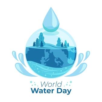 Ilustración del día mundial del agua con naturaleza y gota de agua