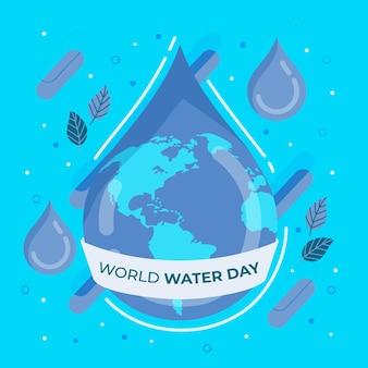Ilustración del día mundial del agua con planeta y gota de agua
