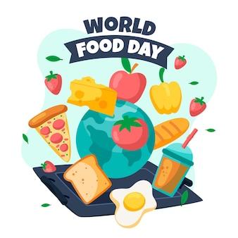 Ilustración del día mundial de la alimentación con diferentes comidas.