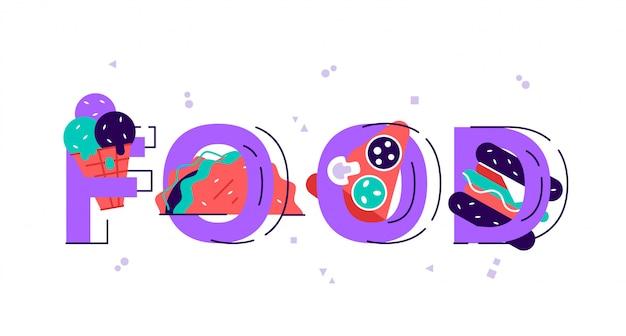 Ilustración del día mundial de la alimentación. varios alimentos, frutas, verduras. ilustración de vector de diseño moderno de estilo plano