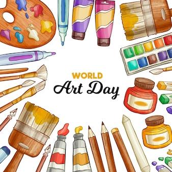 Ilustración del día mundial del arte en acuarela