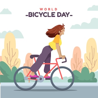 Ilustración del día mundial de la bicicleta de dibujos animados