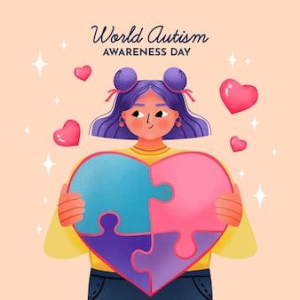 Ilustración del día mundial de la conciencia del autismo en acuarela