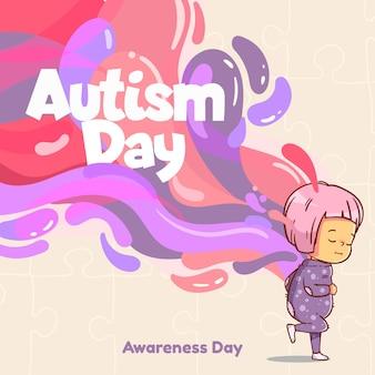 Ilustración del día mundial de la conciencia del autismo de dibujos animados