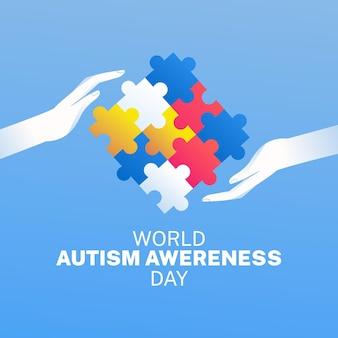 Ilustración del día mundial de concientización sobre el autismo degradado con piezas de rompecabezas