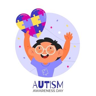 Ilustración del día mundial de concientización sobre el autismo de dibujos animados