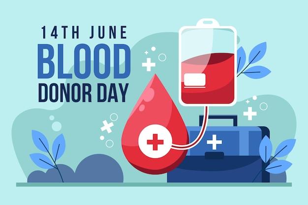 Ilustración del día mundial del donante de sangre de dibujos animados