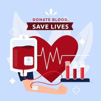 Ilustración del día mundial del donante de sangre plano orgánico