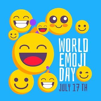 Ilustración del día mundial del emoji plano