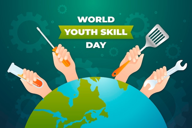 Ilustración del día mundial de las habilidades de la juventud degradado