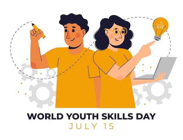 Ilustración del día mundial de las habilidades de la juventud orgánica plana