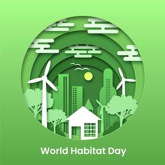 Ilustración para el día mundial del hábitat en estilo papel.