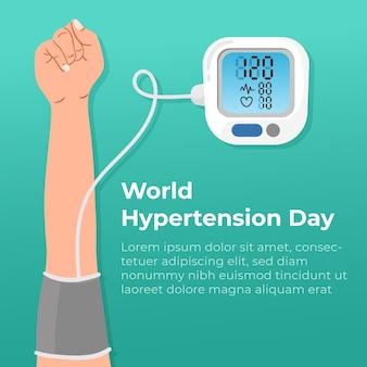 Ilustración del día mundial de la hipertensión orgánica plana
