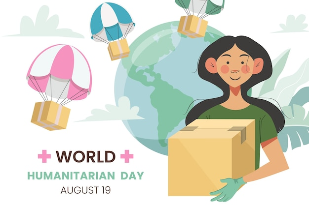 Ilustración del día mundial humanitario de dibujos animados