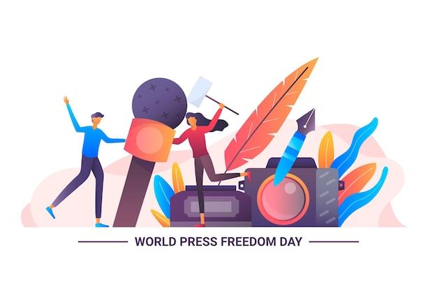 Ilustración del día mundial de la libertad de prensa degradado