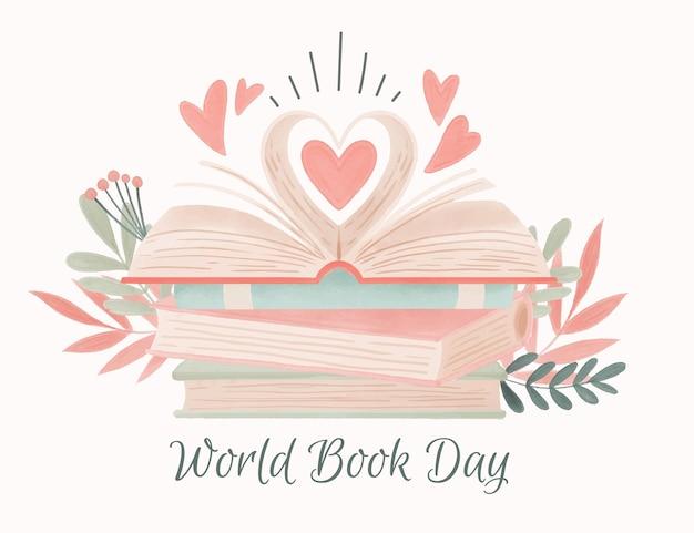 Ilustración del día mundial del libro en acuarela
