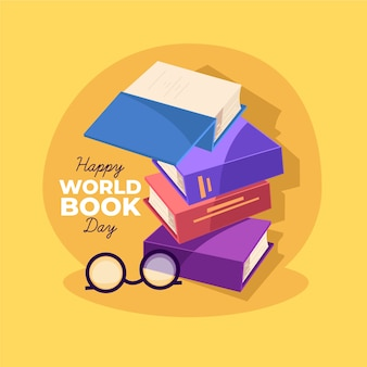 Ilustración del día mundial del libro con colección de libros