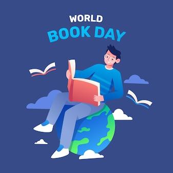 Ilustración del día mundial del libro degradado con un hombre leyendo un libro en el planeta