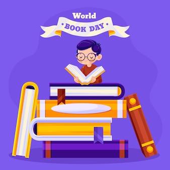 Ilustración del día mundial del libro de dibujos animados