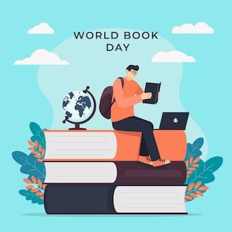 Ilustración del día mundial del libro con hombre leyendo un libro