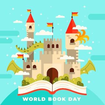 Ilustración del día mundial del libro con libro y castillo