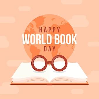 Ilustración del día mundial del libro con libro y gafas