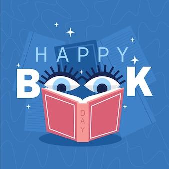 Ilustración del día mundial del libro orgánico con ojos leyendo un libro