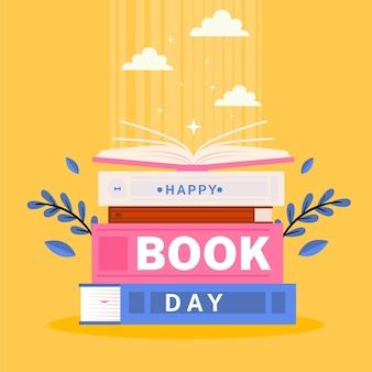 Ilustración del día mundial del libro con pila de libros