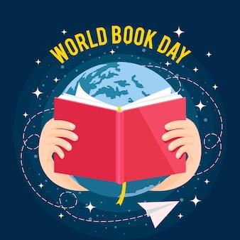 Ilustración del día mundial del libro con planeta y libro abierto