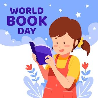Ilustración del día mundial del libro plano orgánico con mujer leyendo