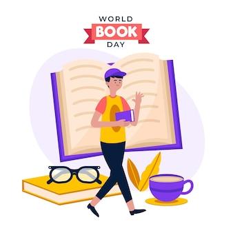 Ilustración del día mundial del libro plano orgánico