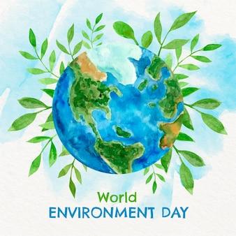 Ilustración del día mundial del medio ambiente en acuarela pintada a mano