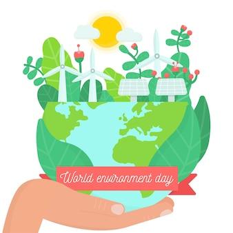 Ilustración del día mundial del medio ambiente de diseño plano