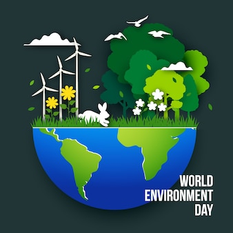 Ilustración del día mundial del medio ambiente en papel