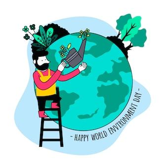 Ilustración del día mundial del medio ambiente plano orgánico