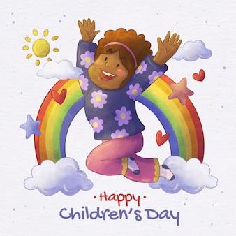 Ilustración del día mundial del niño en acuarela pintada a mano