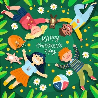 Ilustración del día mundial del niño de dibujos animados