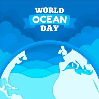 Ilustración del día mundial de los océanos de diseño plano