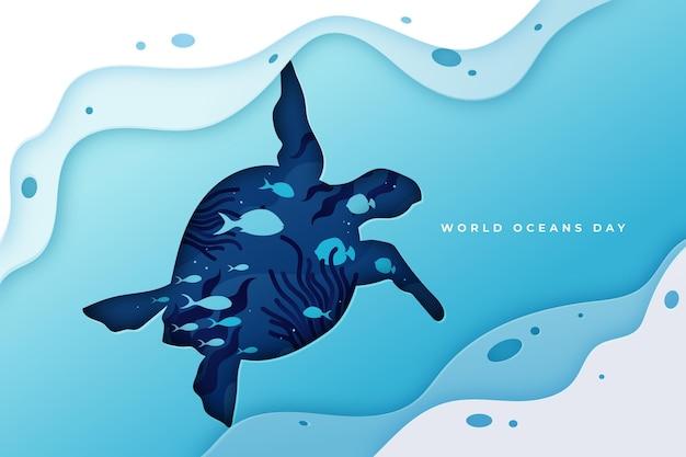 Ilustración del día mundial de los océanos en estilo papel