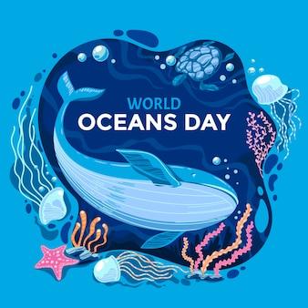 Ilustración del día mundial de los océanos del mundo plano orgánico