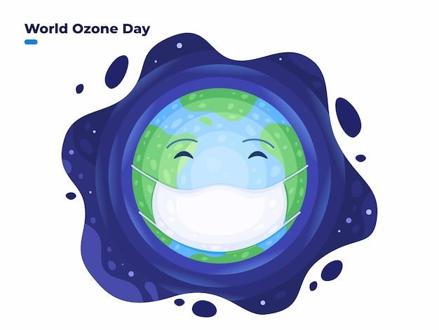 Ilustración del día mundial del ozono el 16 de septiembre con la tierra con mascarilla