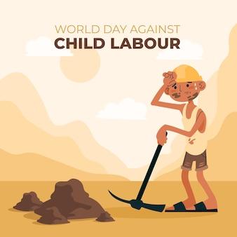 Ilustración del día mundial plano contra el trabajo infantil