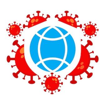 Ilustración del día mundial de la poliomielitis. virus con diseño de ilustración de globo