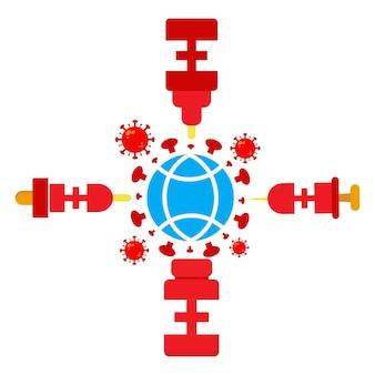 Ilustración del día mundial de la poliomielitis. virus con vacuna y diseño de ilustración de globo