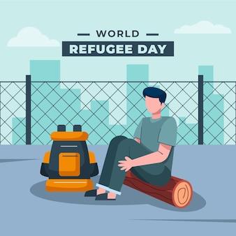 Ilustración del día mundial del refugiado plano orgánico
