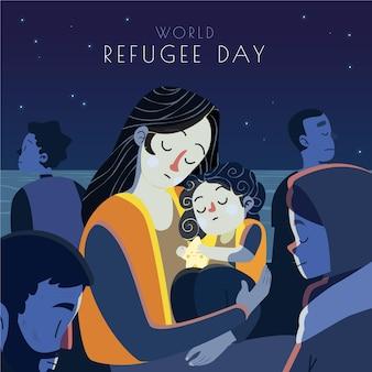 Ilustración del día mundial de los refugiados de dibujos animados